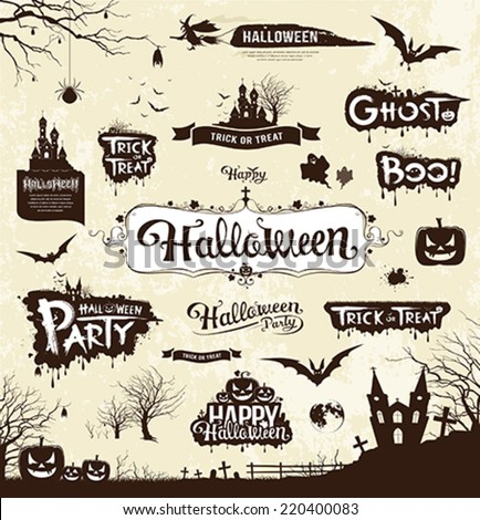 Happy Halloween day silhouette collections design, vector illustration