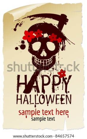 Happy Halloween Design template with female skull and place for text.