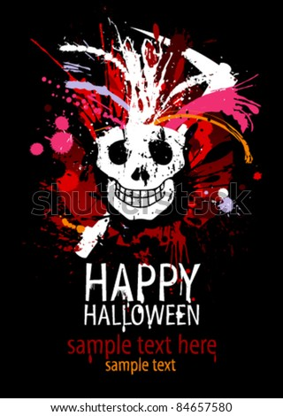 Happy Halloween Design template with grunge skull and place for text.