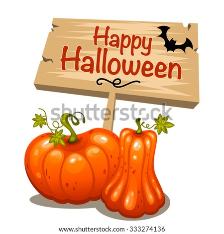 Happy Halloween design with glossy pumpkins and wooden board illustration