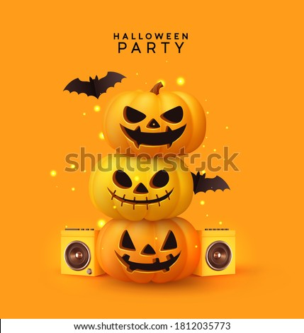 Happy Halloween disco party. Festive background with realistic 3d orange pumpkins with cut scary smile, flying bats. Holiday themed music poster with speakers, flyer, brochure. Vector illustration
