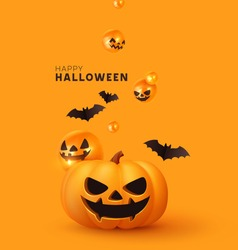 Happy Halloween. Festive background with realistic 3d orange pumpkins with cut scary smile, flying bats. Holiday poster, flyer, brochure and template cover. Vector illustration