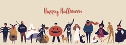 Happy halloween flat banner vector template. Children in spooky outfits cartoon characters. Autumn holiday congratulation. Kids in spider, ghost, mummy and witch costumes illustration with typography.