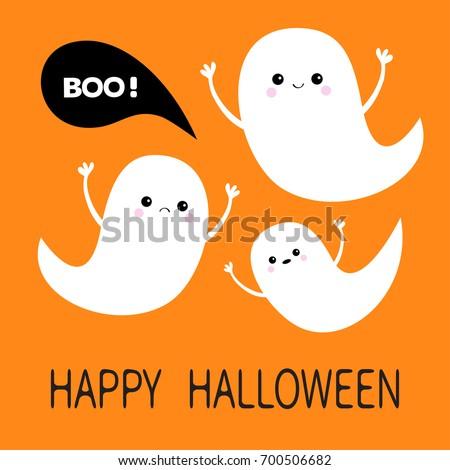 happy halloween flying ghost