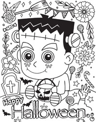 Happy Halloween Frankenstein cartoon with flower, bats, pumpkin and sweet elements. Hand drawn lines. Doodles art for greeting cards, invitation or poster. Coloring book for adult and kids.