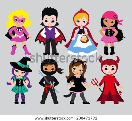 Stock Photo Happy Halloween. Funny little children in colorful costumes. Dracula,  Devil, witch,Pirate, Supergirl, ninja, cat, Little Red Riding Hood.  Vector illustration. Icon