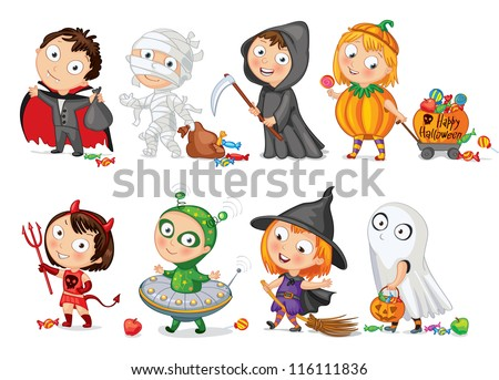 Happy Halloween. Funny little children in colorful costumes. Dracula, Grim Reaper, Devil,  mummy, alien, witch, ghost. Vector illustration. Icon