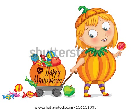 Happy Halloween. Funny little girl dressed as a pumpkin, rolls a cart of sweets. Vector illustration