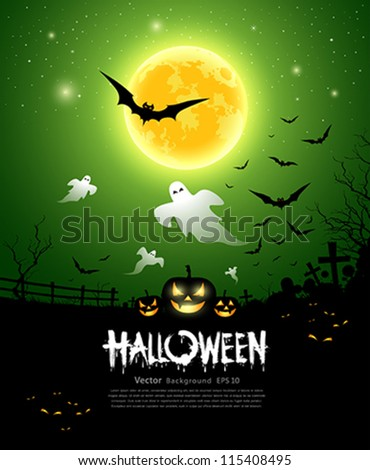 Happy Halloween ghost design background, vector illustration
