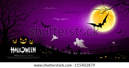 Happy Halloween ghost scary purple background, vector illustration