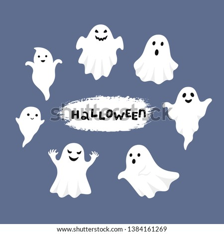 Happy Halloween, Ghost, Scary white ghosts. Cute cartoon spooky character. Smiling face, hands. Blue background Greeting card. Foto d'archivio ©