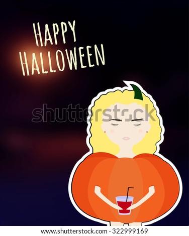 happy halloween girl in a