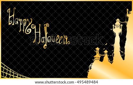 happy halloween gold luxury card