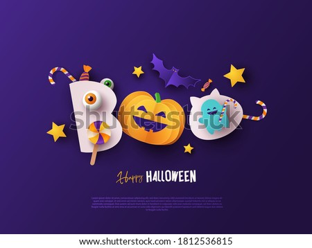 Happy Halloween greeting banner with pumpkin, candy, bats and ghost in night sky. Text Boo stylized as cute monsters. Paper cut style. Halloween design for poster, party invitation or Sale