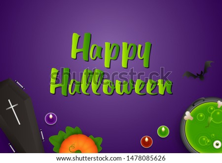 Happy Halloween greeting card design with pumpkin, coffin, boiling potion and candles on purple background. Lettering can be used for posters, leaflets, flyers
