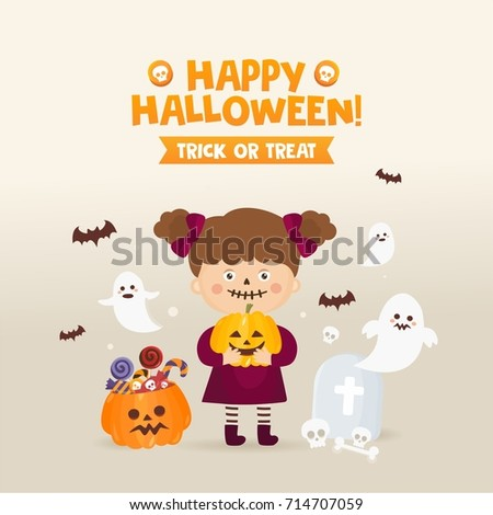 Happy Halloween greeting card. Girl in a fancy dress with pumpkin, candy, ghost and other traditional elements of Halloween. Different holiday icons. Trick or treat!