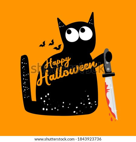 Happy halloween greeting card or banner with Black cat holding ninja katana knife  isolated on orange background. Funny Halloween black cat holding a bloody knife . Halloween concept illustration