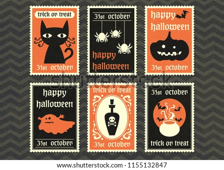 happy halloween greeting card  set ,halloween symbol vector stamp postage collection.