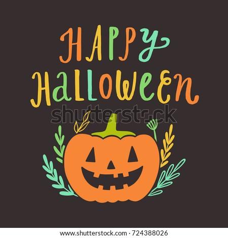 Happy Halloween greeting card. Vector hand drawn cute illustration. Holiday decoration
