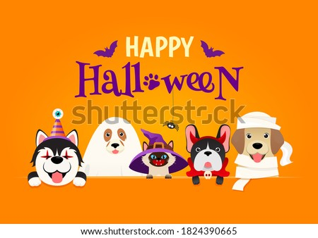Happy Halloween Greeting Card Vector illustration. Cute cat and dogs in halloween pet costume on orange background