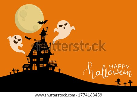 Happy halloween greeting card with haunted house and scary ghosts. Holidays party poster. -Vector Foto stock ©