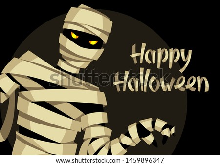 Happy Halloween greeting card with mummy. Illustration or background for holiday and party. Stock fotó ©