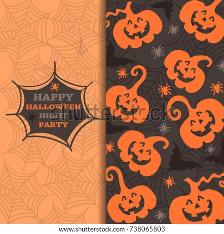 Happy Halloween greeting card with pumpkins and spiders, background with Halloween. Vector illustration of Halloween.