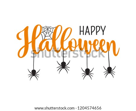 Happy Halloween greeting. Hand drawn lettering typography on white background #1204574656