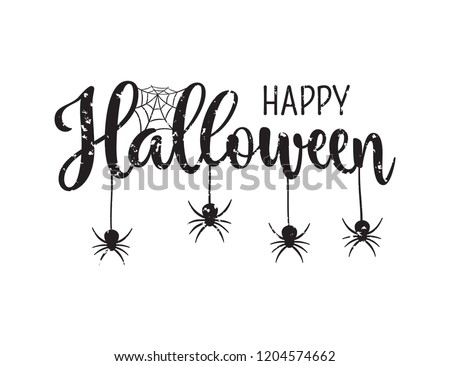 Happy Halloween greeting. Hand drawn lettering typography with scratches on white background #1204574662