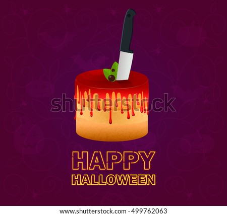 Happy Halloween. Halloween cake dripping fake blood splash with knife for night party. Violet abstract background. Vector 10eps. Concept for Greeting card, poster, web, print.