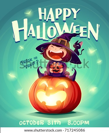 Happy Halloween. Halloween little witch. Girl kid in halloween costume sits on a giant pumpkin. Retro vintage. Turquoise background.