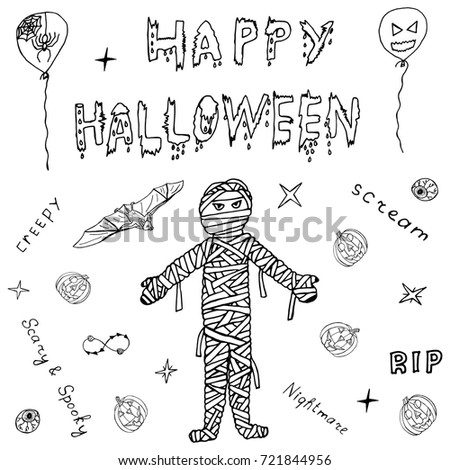 Happy Halloween Hand Drawn Horror Sketch Set with Calligraphy Text. Mummy, Pumpkin, Bat Drawing Icons and Letters for Banners, Cards, Posters. Helloween Scary Doodle Collection. Vector Illustrations.