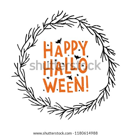 Happy Halloween - hand lettering. Template for greeting card, party invitation, banner, postcard, poster. Celebration lettering typography poster. Vector illustration on textured background