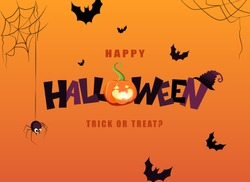 Happy Halloween hand lettering text with pumpkin and bats. Good for greeting card, Halloween party invitation, banner, postcard, poster template. Vector illustration.