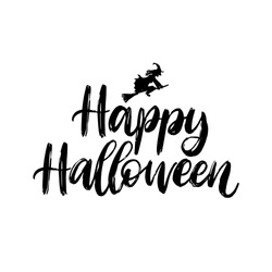 Happy Halloween, hand lettering. Vector illustration of witch on white background.  Design concept for party invitation, greeting card, poster.