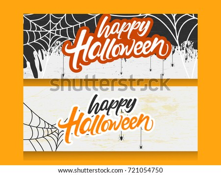 Happy Halloween Header calligraphy with Scary elements such as Bat, Eye and Spider with Handmade vector lettering 3d Text on spider web for Halloween party celebration