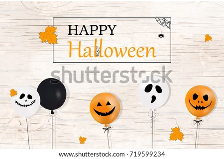 Happy Halloween. Holiday concept with white, orange, black  balloons, falling  leaves, spider web for banner, poster, greeting card, party invitation. wooden background. vector cartoon  illustration.