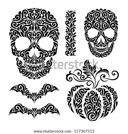 Happy Halloween holidays ornate elements: skulls, bats and pumpkin ,