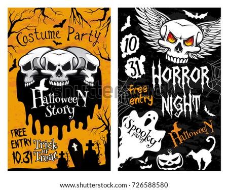 happy halloween horror night party invitation poster design of