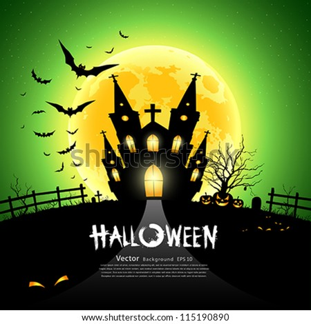 Happy Halloween house scary on green background, vector illustration