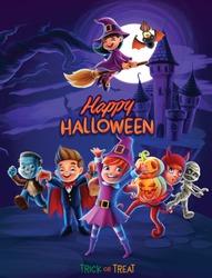 happy halloween illustration with devil
