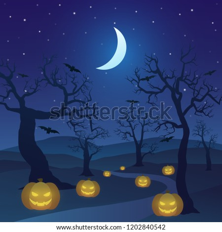happy halloween in forest at