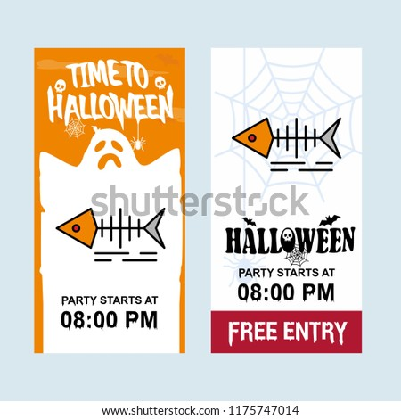 Happy Halloween invitation design with fish skull vector