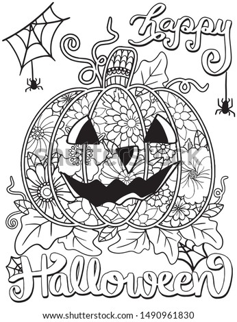 Happy Halloween Jack O' Lanterns with flower, spider and pumpkins elements. Hand drawn lines. Doodles art for greeting cards, invitation or poster. Coloring book for adult and kids.