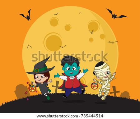Happy halloween.Kid dress up Halloween party and jumping in the air.Vector and illustration. #735444514