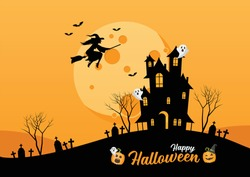 Happy Halloween lettering for party invitation card. Haunted House. Witch flying over the moon. Vector illustration