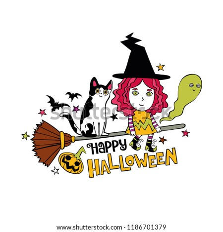 Happy Halloween. Lettering. Little witch on broom. Cat. Ghost and bats. Pumpkin. Star Print. Isolated vector object on white background.