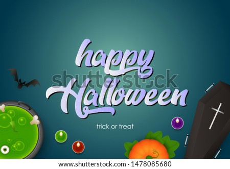 Happy Halloween lettering with pumpkin, coffin, boiling potion and candles on navy background. Lettering can be used for posters, leaflets, flyers