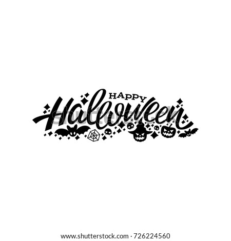 Happy Halloween logo. Happy halloween lettering design. Greeting vector illustration.
