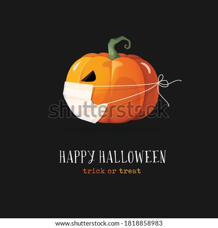 Happy Halloween. Mask, dark, pumpkin, vector. New normal. Covid-19, pandemi. Greeting cards, posters, banners, flyers and invitations.
